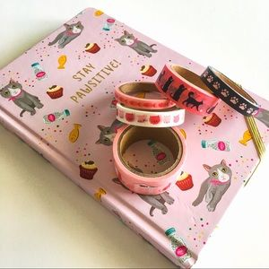 Stay Pawsitive Journal & Cat Washi Tape Set NWOT